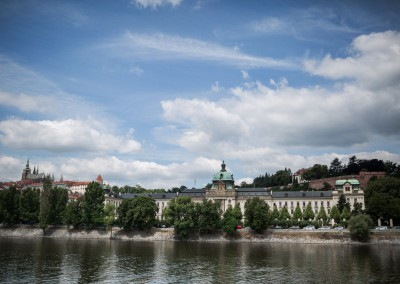 Vltava river and Straka's Academy - the seat of the Czech Republic Government and of the Office of the Czech Republic Government