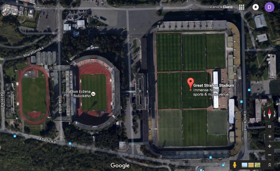 Great Strahov Stadium. Great Strahov ruins.