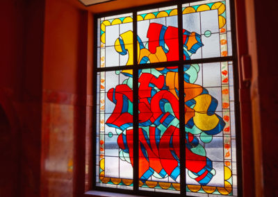Graffiti stained glass window by Pasta Oner