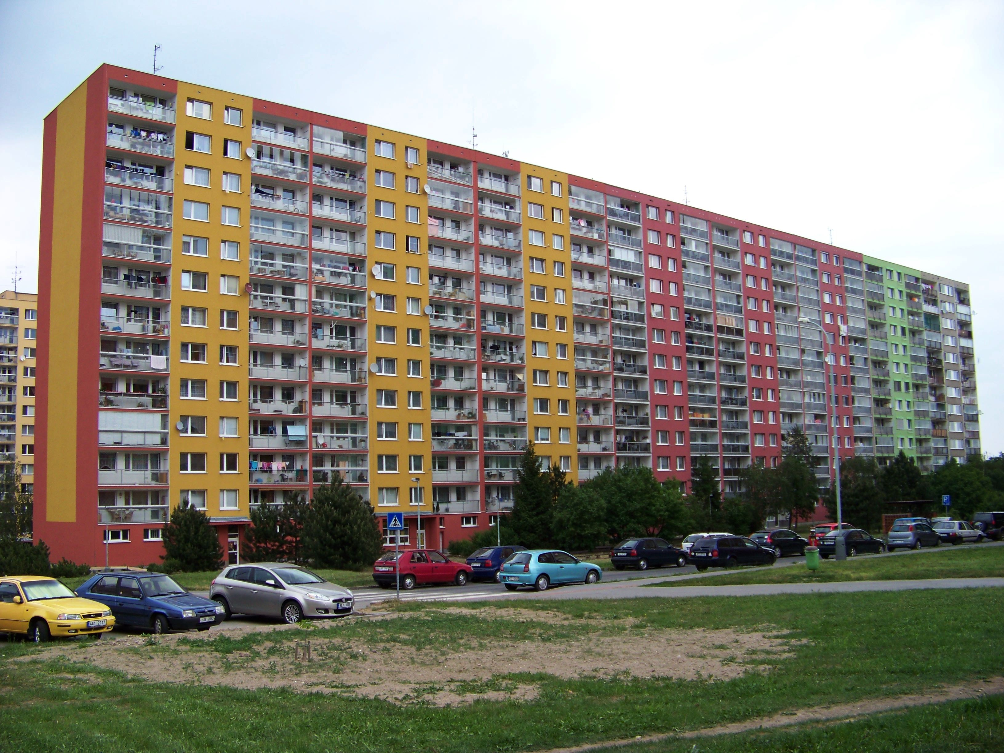 "Acommodation in Prague, outskirts of Prague. Typical communist architecture called ""panelák"". Block of flats."